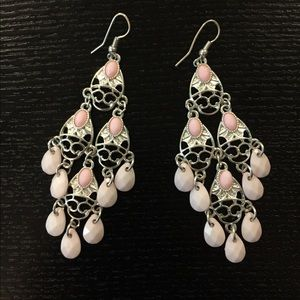 Jewelry - Beautiful Silver and Pink Chandelier Earrings